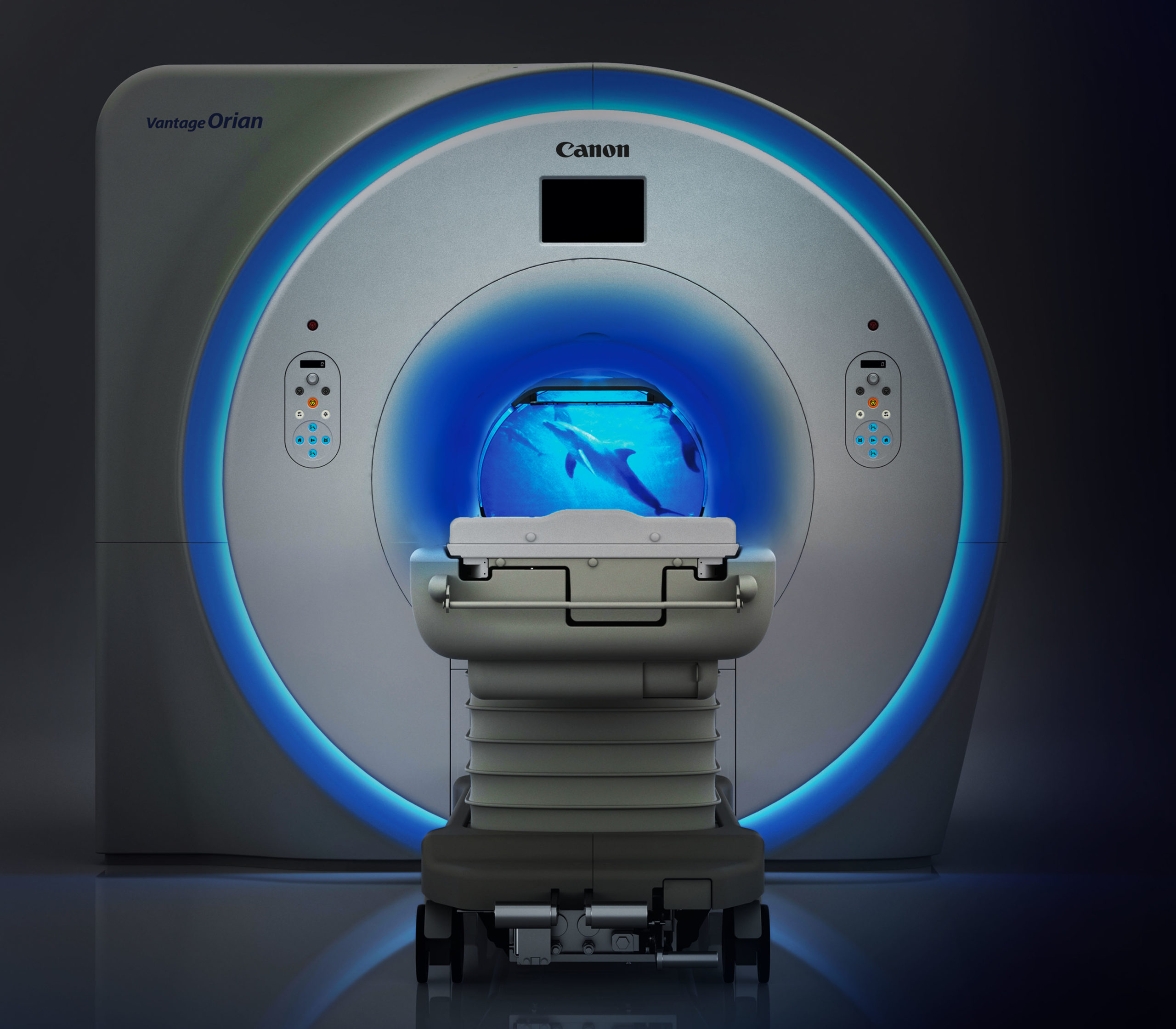 MRI machine with dolphins
